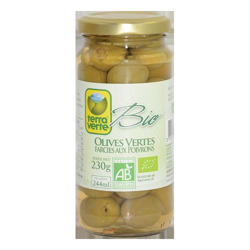 Oliwki zielone faszerwoane papryką BIO 230g